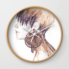Fashion illustration profile portrait gold black white markers and watercolors Wall Clock