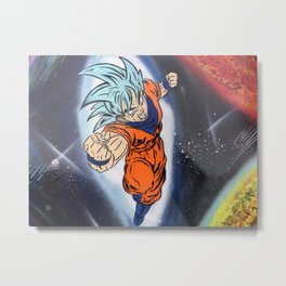 Dragonball Super Goku Galaxy Spray Painting Metal Print