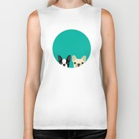 boston Biker Tanks featuring Boston Terrier & French Bulldog 2 by Anne Was Here