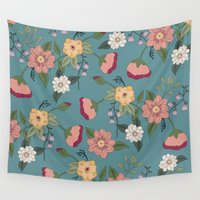 vintage floral Wall Tapestries featuring Floral Vintage by Juliana Zimmermann