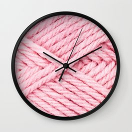 Pink Yarn Wall Clock