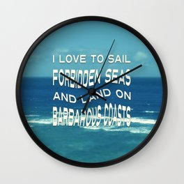 I love to sail inspirational quote ocean photo Wall Clock