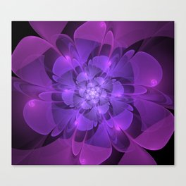 Purple Dew Drops | Abstract digital flower Canvas Print