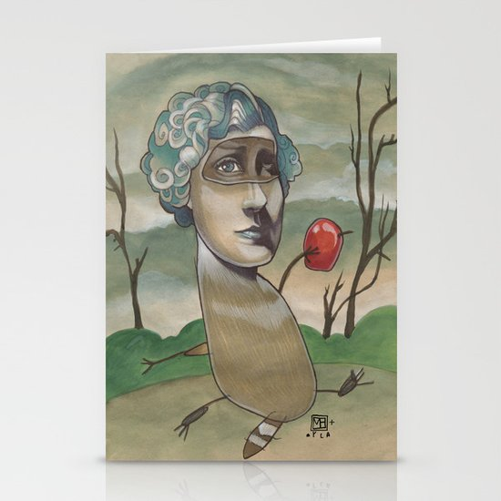 RED APPLE RACCOON Stationery Cards