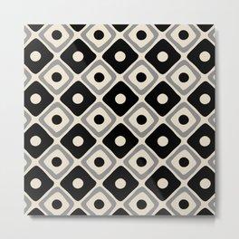 Mid Century Modern Diamond Dot Pattern 414 Black and Gray Metal Print