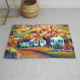 Picturesque Landscape with Vivid Maple Trees Rug