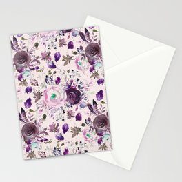 Country chic pink lavender violet watercolor floral Stationery Cards