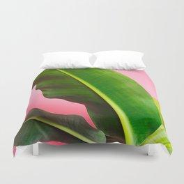 Banana Palm Leaves Pink Background Duvet Cover