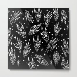 Floating Witchy Goth Hands Metal Print