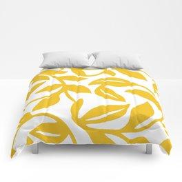 PALM LEAF VINE LEAF YELLOW PATTERN Comforters