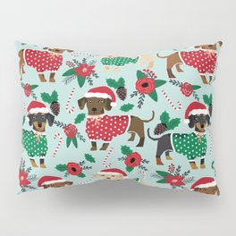 Dachshund christmas sweater florals poinsettia holiday red and white santa hat for dog lover Pillow Sham