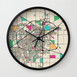 Colorful City Maps: Lubbock, Texas Wall Clock