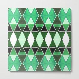 Art Deco Triangles Green Metal Print