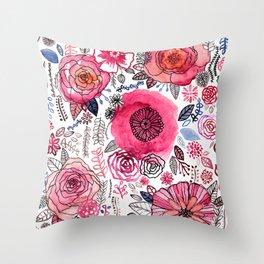 Pink Floral Mix Throw Pillow