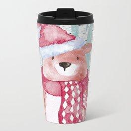 Winter Woodland Friends Cute Bear Snowy Forest Illustration Metal Travel Mug