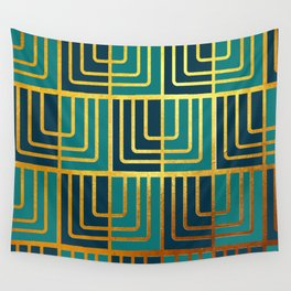 Art Deco Rag Doll In Turquoise Wall Tapestry