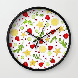 Fruits and vegetables pattern (6) Wall Clock