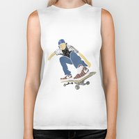 skateboard Biker Tanks featuring Skateboard 1 by Aquamarine Studio