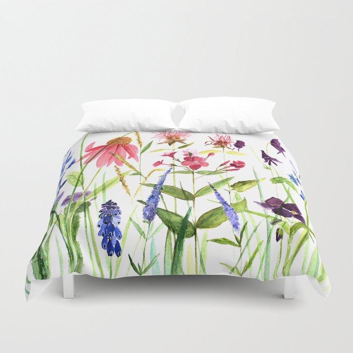 Botanical Colorful Flower Wildflower Watercolor Illustration Bettbezug