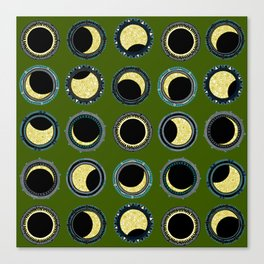 solar eclipse mandala green Canvas Print