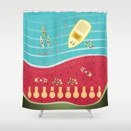 Summer Fun at the Watermelon Beach Shower Curtain