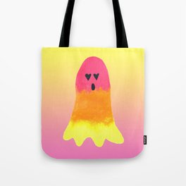 Rainbow Ghost with Heart Eyes and Yellow to Pink Gradient Tote Bag