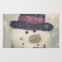 snowman Area & Throw Rugs featuring Snowman by Photography and Fine Art by Pamela