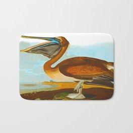 Brown Pelican Illustration Bath Mat