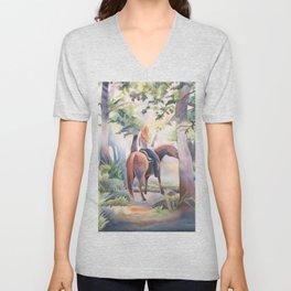 Quiet Woodland Horse Ride Unisex V-Neck