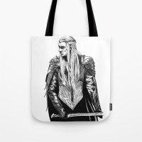 thranduil Tote Bags featuring Thranduil by Lydia Joy Palmer