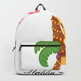 Happy Holidays Pink Flamingo Christmas Island Vacation  design Backpack