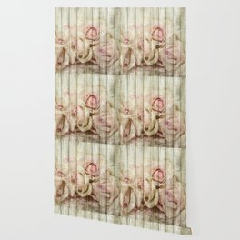 Shabby Chic Country Floral Rose Wood Wallpaper