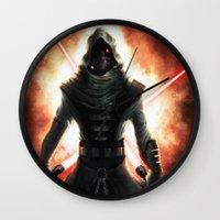 dark side Wall Clocks featuring Dark side by Michele Frigo