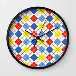 Primary Color Neck Gator Argyle Primary Colors Wall Clock