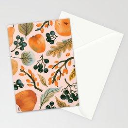 Vintage fruit watercolor hand drawn on pastel background illustration pattern Stationery Cards