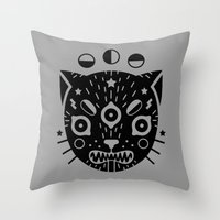 black cat Throw Pillows featuring BLACK CAT by LordofMasks