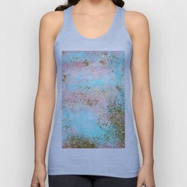 Pink and Gold Mermaid Sea Foam Glitter Unisex Tank Top
