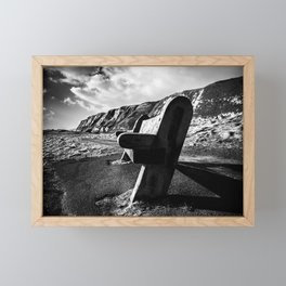 Seaside Bench. Framed Mini Art Print