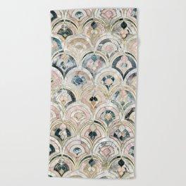 Art Deco Marble Tiles in Soft Pastels Beach Towel