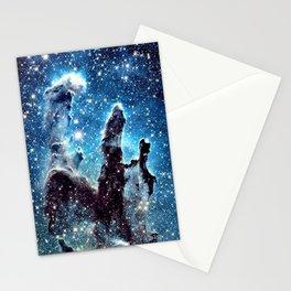 Pillars of Creation Nebula: Ocean Blue Galaxy Stationery Cards