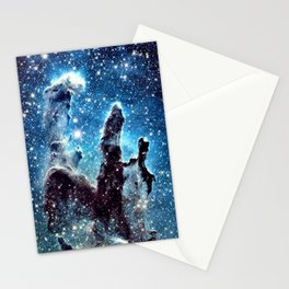 Pillars of Creation Nebula: Ocean Blue Galaxy Stationery Cards