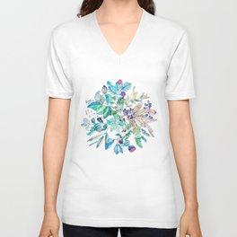 Botanical Mandala Watercolor Painting Unisex V-Neck