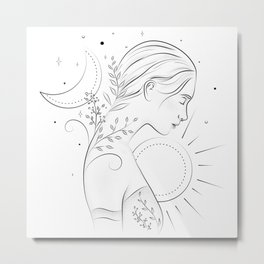 Nature woman with the sun and the moon Metal Print