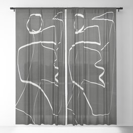 Abstract line art 6/2 Sheer Curtain