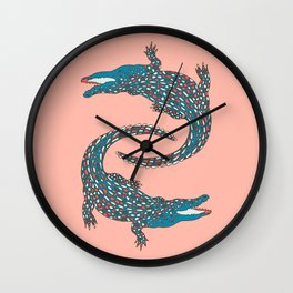Crocodiles (Pink and Teal Palette) Wall Clock