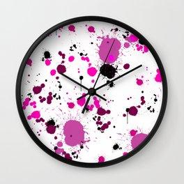 Pink Splatter Wall Clock