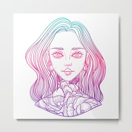 young beautiful woman with tattoo flower peony Metal Print
