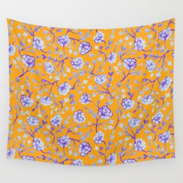 Watercolor Peonies - Sapphire Marigold Wall Tapestry