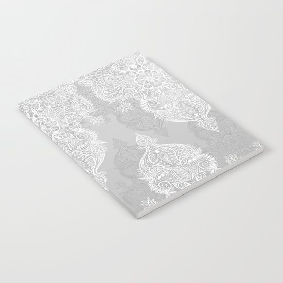 Lace & Shadows 2 - Monochrome Moroccan doodle Notebook