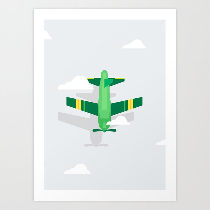 Green Plane High Sky Art Print